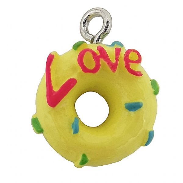 Acrylic Yellow Love Doughnut Whole 13mm
